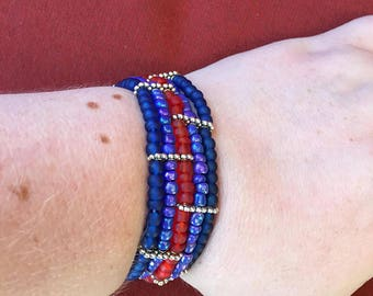 Blue purple and red five-strand bracelet! SHIPS IMMEDIATELY from USA! Gifts for her!
