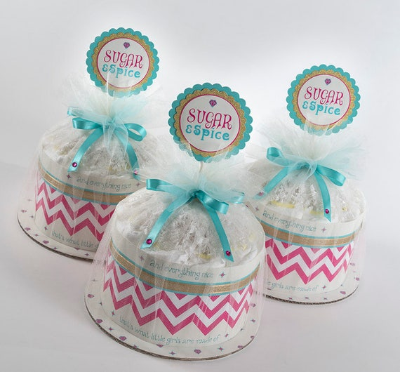 "Three "" Sugar & Spice"" Mini Diaper Cakes. Baby Shower Centerpieces."