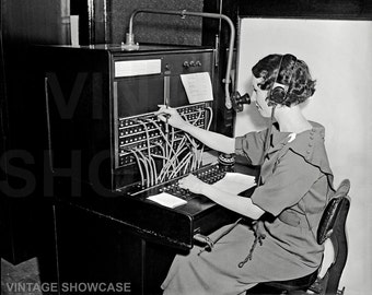Vintage photo Woman Operating Western Electric PBX Switchboard - Photo Reprint - Phone Board