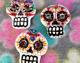 Set of 3 Hand Painted Day of The Dead Sugar Skull Magnets with Multi Colored Swarovski Crystals