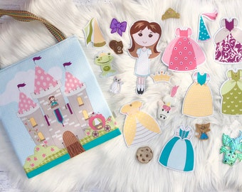 Handmade castle play set, Princess dress up toy set, Travel princess play set, Pack & Play Princess Bag, Quiet toys, Kid toy, Montessori Toy