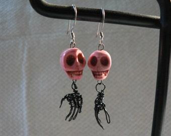 Twisted Wire Skull Hand Earrings - Black & Pink - Doctor, Nurse, Goth, Art, Anatomy Earrings - Wearable Skeleton Sculpture - Costume Jewelry