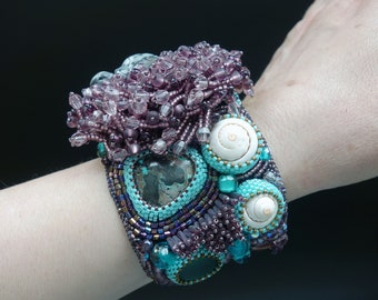 "FREE SHIPPING Bead Embroidery Cuff   ""Turtle""  Bracelet  22.04."