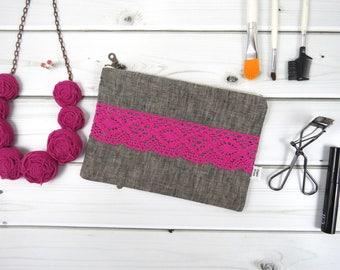 Linen Lace zipper pouch medium size - AMANDA in Graphite - vintage cotton lace, linen cosmetic bag, passport case, valentines gift clutch