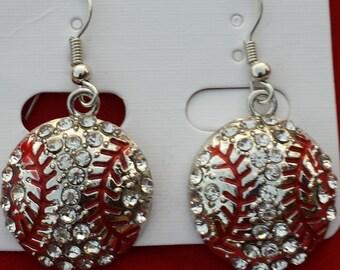 Bling Rhinestone Baseball Fish Hook Dangle Earrings 0.75' - 3/4 inch