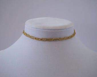 Gold looped choker necklace