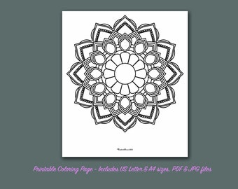 Mandala Coloring Pages Adults Printable : Mandala coloring pages set of 5 jpegs letter size instant