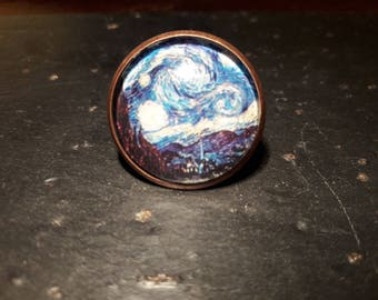 Van Gogh cabochon ring