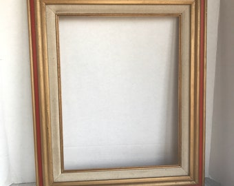 Vintage Red and Gold Wood Picture Frame / Wooden 11 X 14 Inch Frame Made in Mexico