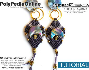 SALE! Macrame Tutorial, Knotting Tutorial, DIY Macrame, Macrame Jewelry, Handmade Beads, Macrame Earring, Earring Pattern, Polymer Clay