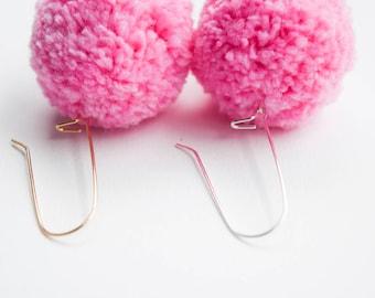 Pretty Pink Pom Earrings