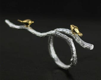 UNIQUE adjustable ring 925 sterling silver birds on a branch