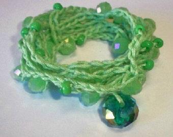 Sale*** Crochet Bracelet in Light green,  wrap BoHo, Bohemian Lace Bracelet, necklace or wrap bracelet