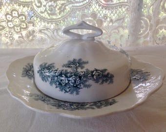 Senica Phillips St Elmo Covered Butter Cheese Dish English Transferware Vintage Porcelain Ware Kitchen Storage