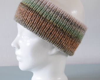 Brown Knitted Headband - Green Grey Ear Warmer Chunky Merino Wool Acrylic Unisex Winter Accessory Gift for Him or Her by Emma Dickie Design