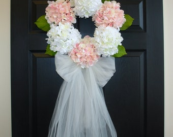spring wreaths for front door wreaths wedding bridal shower decorations wreaths hydrangea wreath wedding-front door decorations-veil