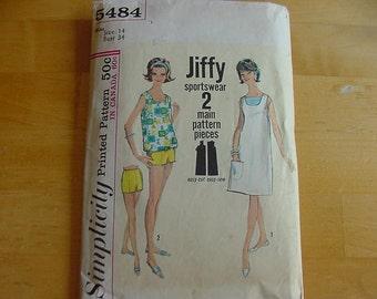 VINTAGE 1960s Simplicity Pattern 5484, Misses 1 Piece Jiffy Dress, Top, Shorts, Size 14, Bust 34