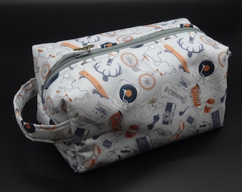 Hipster Travel Bag, Ditty Bag, Dopp Kit, Toiletry Bag, Makeup Bag, Go Bag, Zip Pouch, Gifts for Millennials, Groomsman Gifts