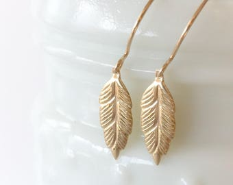 Simple Gold Filled Leaf Dangle Earrings Drops Everyday Lightweight Chic Small Minimalist Yellow Gold Minimal Under 25 Gift for Women