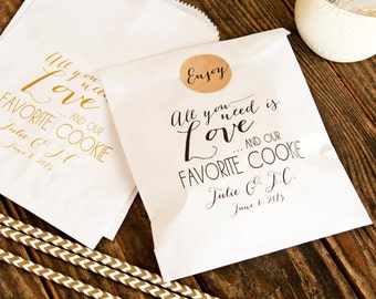 Cookie Favor Bags - Customized Wedding Favor Bags - Love and our Favorite Cookie - Wax Lined Favor Bags - 20 White Favor Bags included