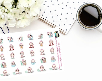 Planner Stickers  Cute Sloth Stickers Cute Sloth Sampler Daily Activity Stickers For use in a wide variety of planners and journals S018