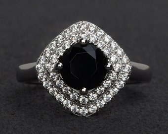 natural black spinel ring double halo engagement ring black rings round cut gemstone ring silver