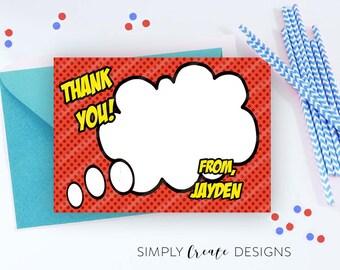Superhero Thank You Card Digital Two 4x6 cards on 8.5x11 JPEG