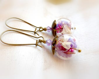 Pink terrarium earrings Dry flower earrings Miniature botanical drop earrings Dried flower earrings Nature jewelry gift Gift for her й033
