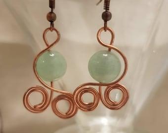 Aventurine earrings; Gemstone earrings; Copper earrings; Green aventurine earrings; Green earrings
