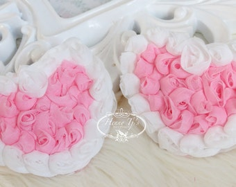 ValenTine's Day - Set of 4 Beautiful Shabby Chic Chiffon Rose HEART Appliques - Pink with White Edges 3 inches