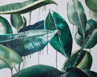 Original Oil on Canvas Painting, 'Leaves' 91cm x 91cm x 1.5cm