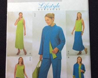 Butterick Fast And Easy Misses'/Misses' Petite Reversible Jacket, Top, Dress, Skirt, And Pants Pattern B4080 Size 8, 10, 12 Very Easy