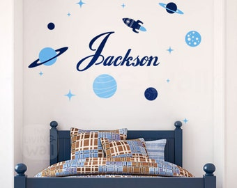 Personalized Boy Name Wall Decals, Planets and Rockets Stickers, Removable Wall Art Australian Made
