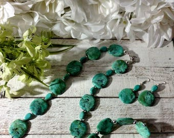 NEW Handmade light teal swirl jewelry set