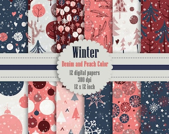 12 Winter Pattern Digital Papers in Denim and Peach Color in 12 inch, Instant Download, High Resolution 300 Dpi, Commercial Use