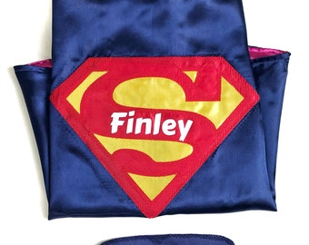 Personalized Superman Cape and Mask / Kids Cape/ Kids Superhero Costume / Toddler Birthday Party Outfit
