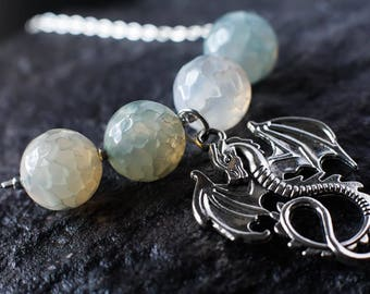 Silver dragon necklace | Dragon Agate gemstone bead necklace | Pale green and blue sterling silver necklace | Fantasy dragon charm necklace