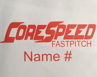 Corespeed sticker decal with name/#