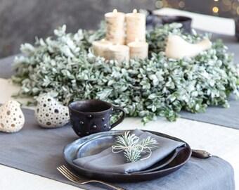 Linen table runner - Slate grey handmade long, extra long runner