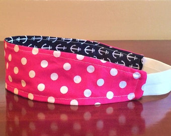 Pink Headband for women, Polka dot Headband, Retro Headband, Pink Womens Headband, Pink Girls Headband, Teen Headband, Reversible Headband