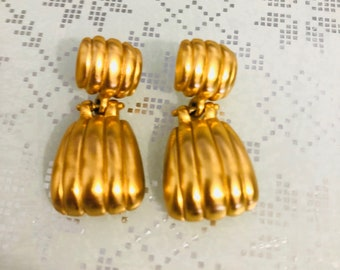 Gorgeous 1980's Gold Plated Dangle Earrings, Gold Matte Finish, NC Estate.