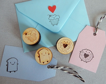 Afternoon Tea Polymer Stamps - Kawaii Cupcake, Bread Slice and Jammie Dodger Biscuit
