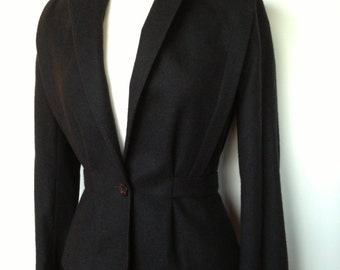 Classy Vintage 80s VALIA Dress / 40s Style Suit Jacket And Pencil Skirt / Pinup Wiggle Suit