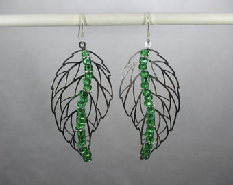 Silver Large Leaf Filigree Pendant Earrings, Green Beads, Tarnish Resistant, Sterling Silver Hooks
