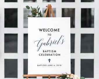 Custom Baptism sign, Baptism welcome sign, Baptism printable, Celebration sign, Personalized Baptism, Decoration Baby Baptism sign