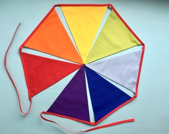 Rainbow bunting - Handmade Bunting - Childrens bunting - Nursery bunting - Fabric banner - Rainbow banner - pennant flags - red binding