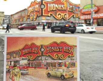 Honest Eds Postcard / Toronto Postcard / Toronto Art / Toronto Themed Postcards / Watercolor Postcard