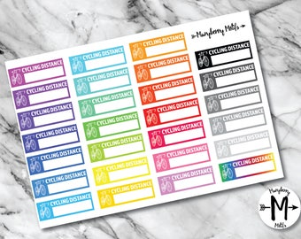 Cycling Distance Stickers for Planners, Calendars or Bullet Journals
