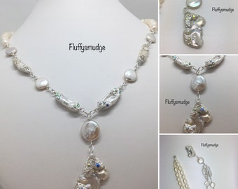 sterling silver fairytale necklace with coin, rice and biwa freshwater cultured pearls with a massive keshi pendant with swarovski elements