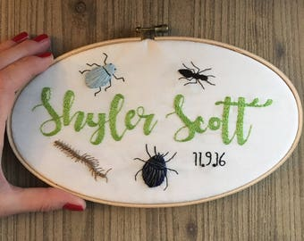 Cute as a Bug!  Custom Name Nursery Hoop Art Hand Embroidered Wall Decor for BOYS & GIRLS!